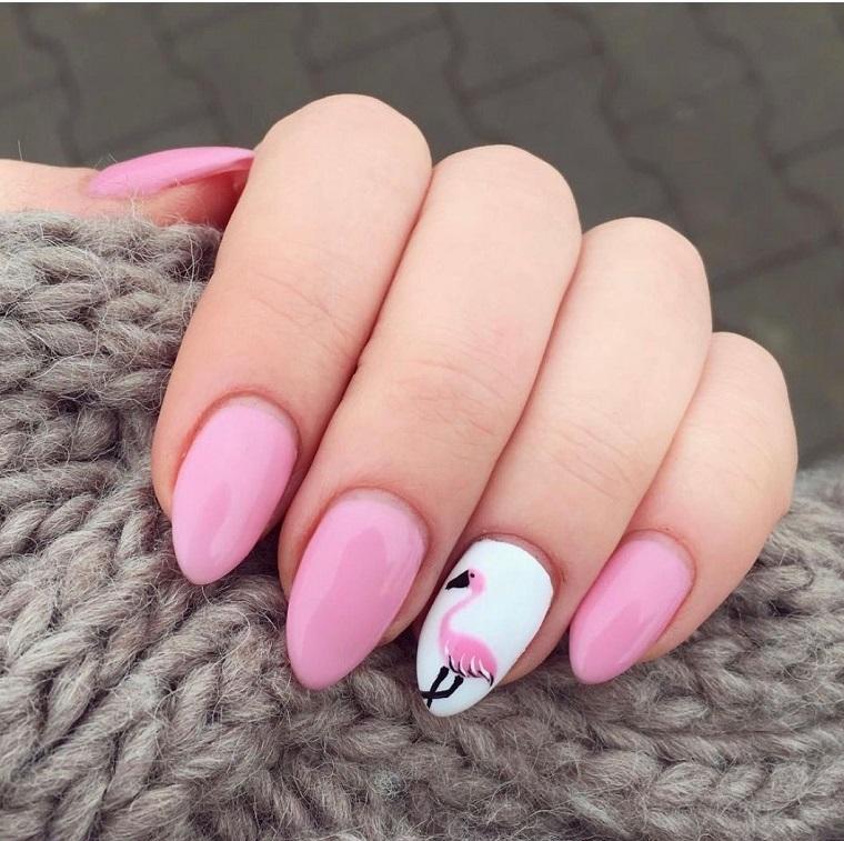 Idea per unghie a mandorla, smalto colore rosa, disegno unghie flamingo