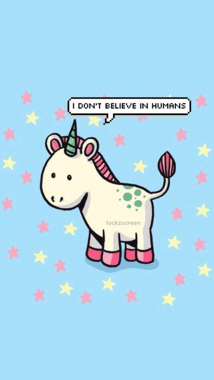 Disegno di un unicorno, scritta in inglese, disegno per sfondo telefono