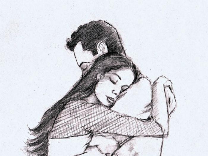 Ragazza e ragazzo abbracciati, disegno a matita, rappresentazione schizzo su foglio