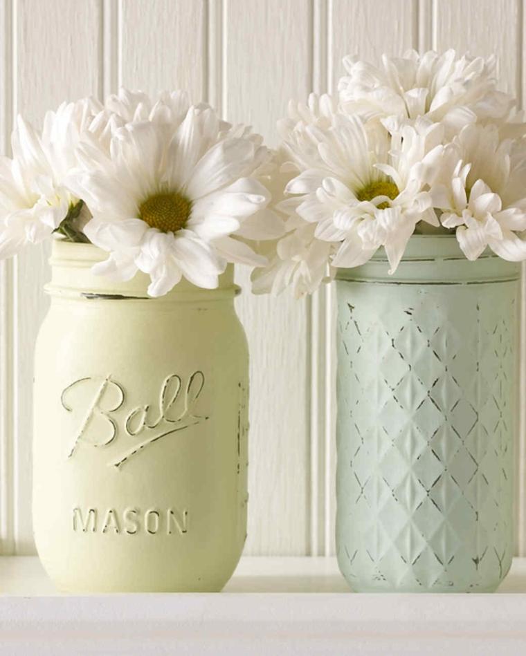 Regalo per la festa della mamma, barattolo di vetro dipinto, bouquet di fiori in vaso
