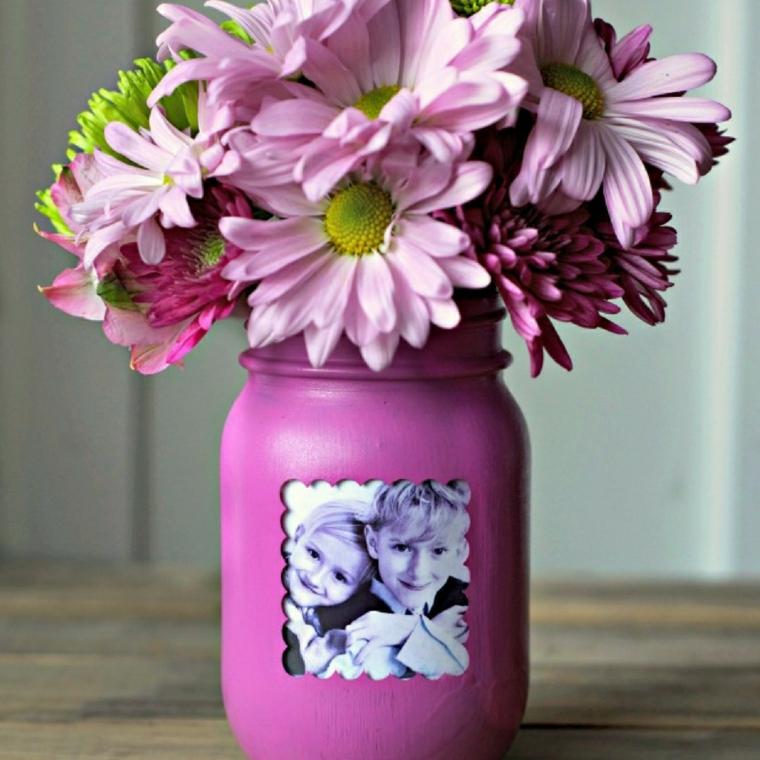 Barattolo di vetro dipinto, vaso con foto di bambini, fiori in vaso