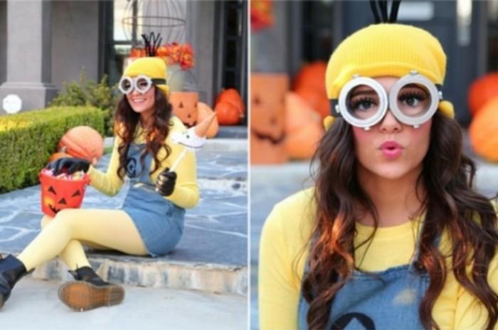 Ragazza travestita per Halloween, ragazza con costume dei mignons