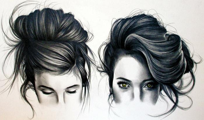 Disegno metà viso, disegno a matita di una donna, capelli legati mossi