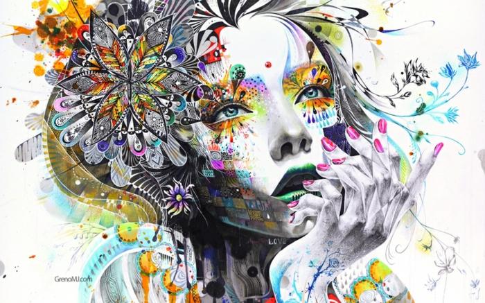 Disegno con motivi floreali, disegno di un viso donna