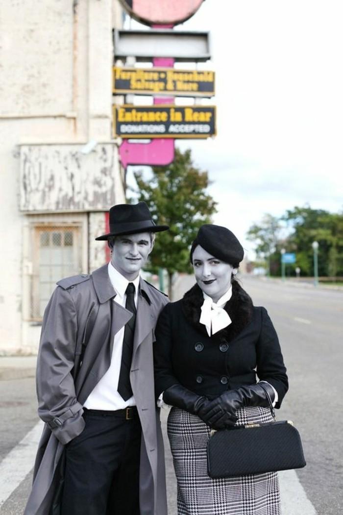 Travestimento di coppia per Halloween, uomo e donna con viso pallido, travestimento da vampiri