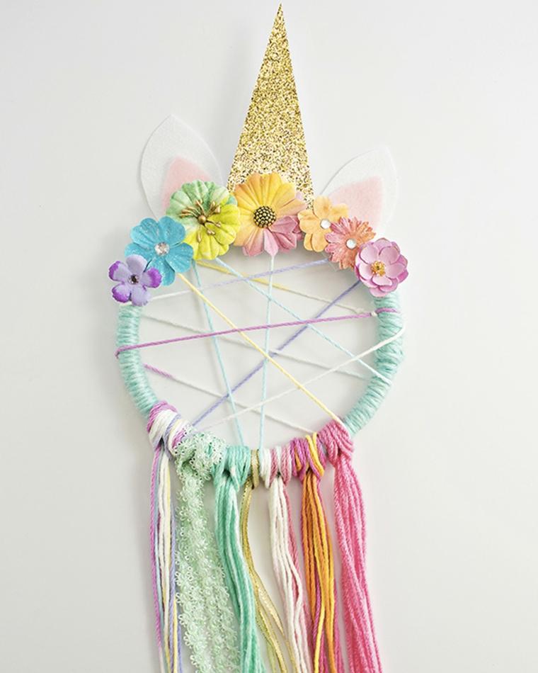 Fili di lana colorati, acchiappasogni unicorno, lavoretti per bambini