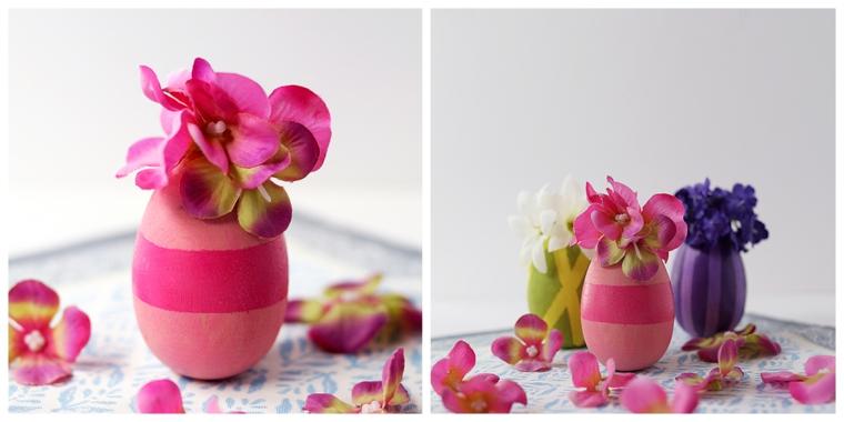 Decorazioni pasquali fai da te, uovo dipinto di rosa, fiori con petali rosa
