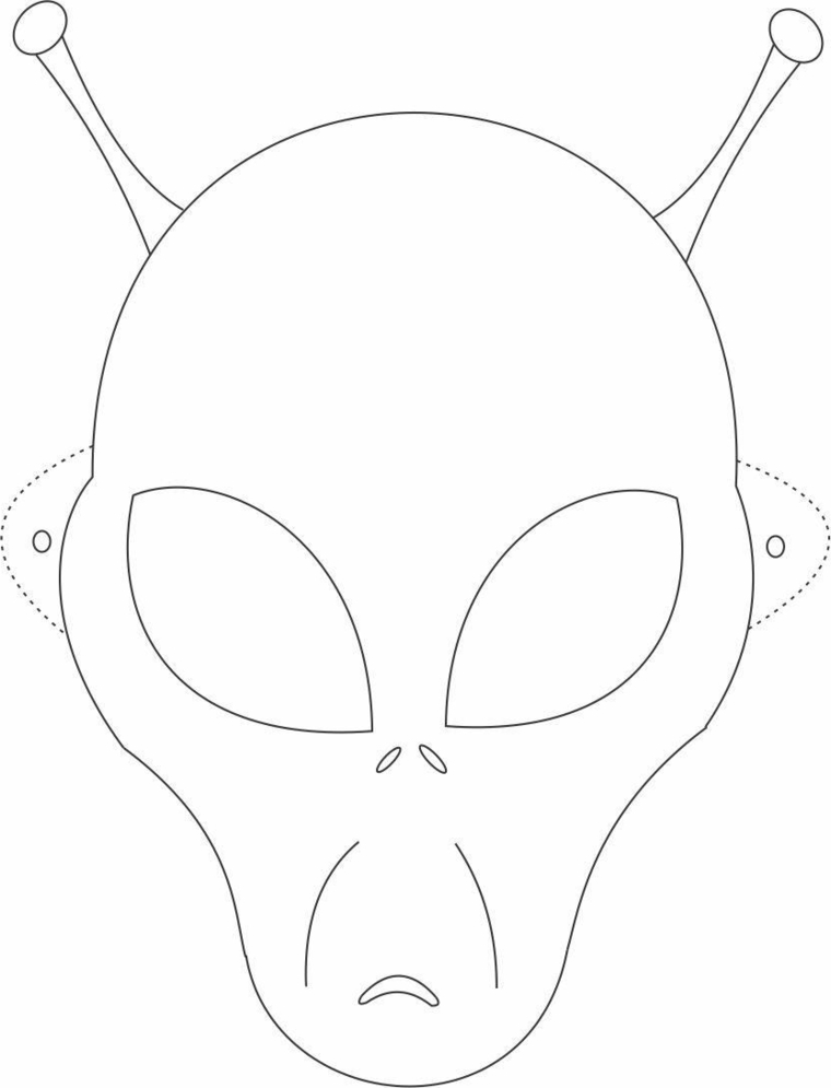 Maschere di carnevale da colorare, disegno di un alieno