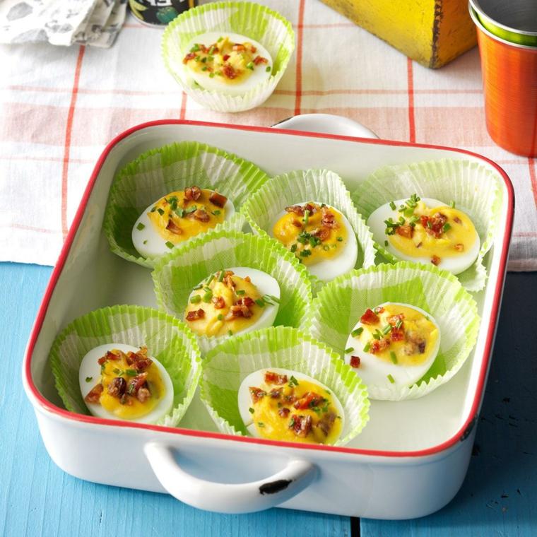 Antipasto con uova ripiene, ricette con uova di pasqua avanzate