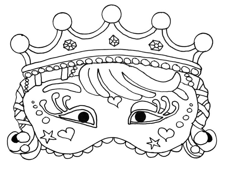 Maschere da colorare, maschera per bambina, disegno corona da colorare