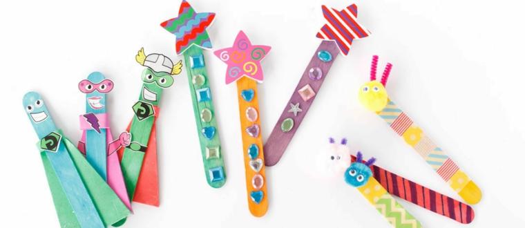 Segna pagina di legno, bastoncini di legno, bastoncini decorati, brillantini colorati
