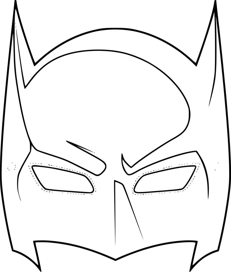 Maschere di carnevale da colorare, disegno di Batman, travestimento per maschietti