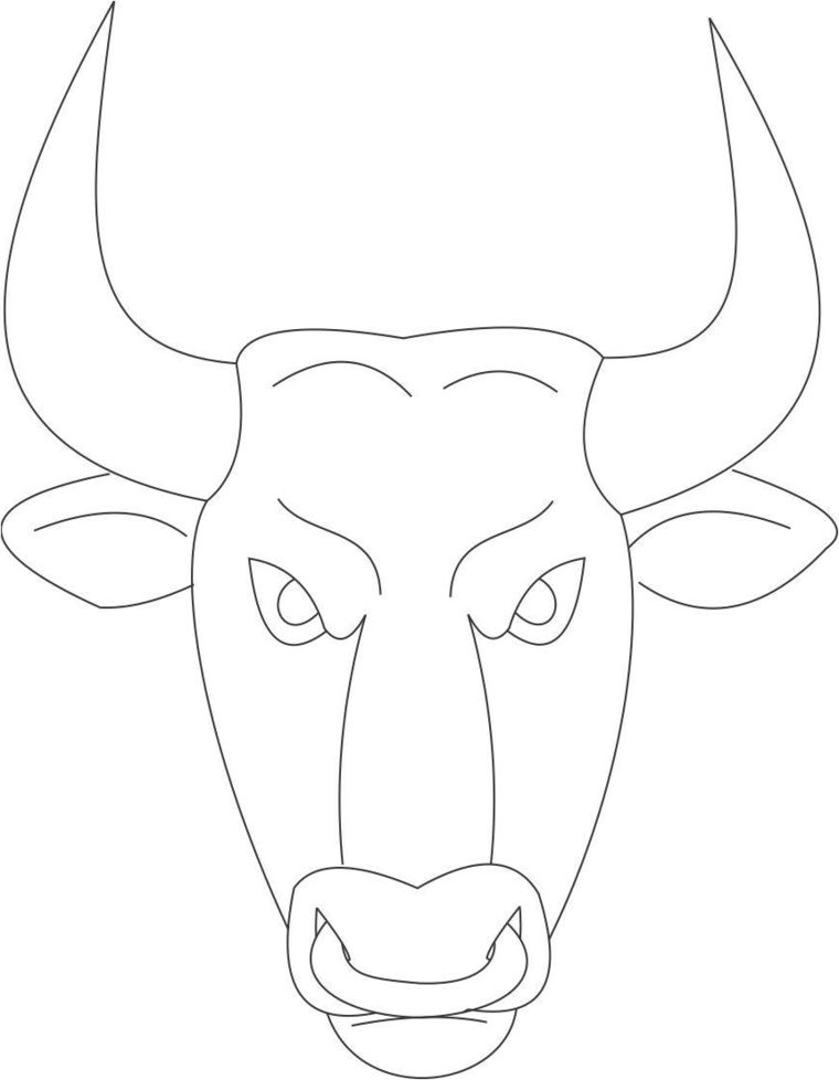 Disegno di un toro, maschere da ritagliare, travestimento per carnevale