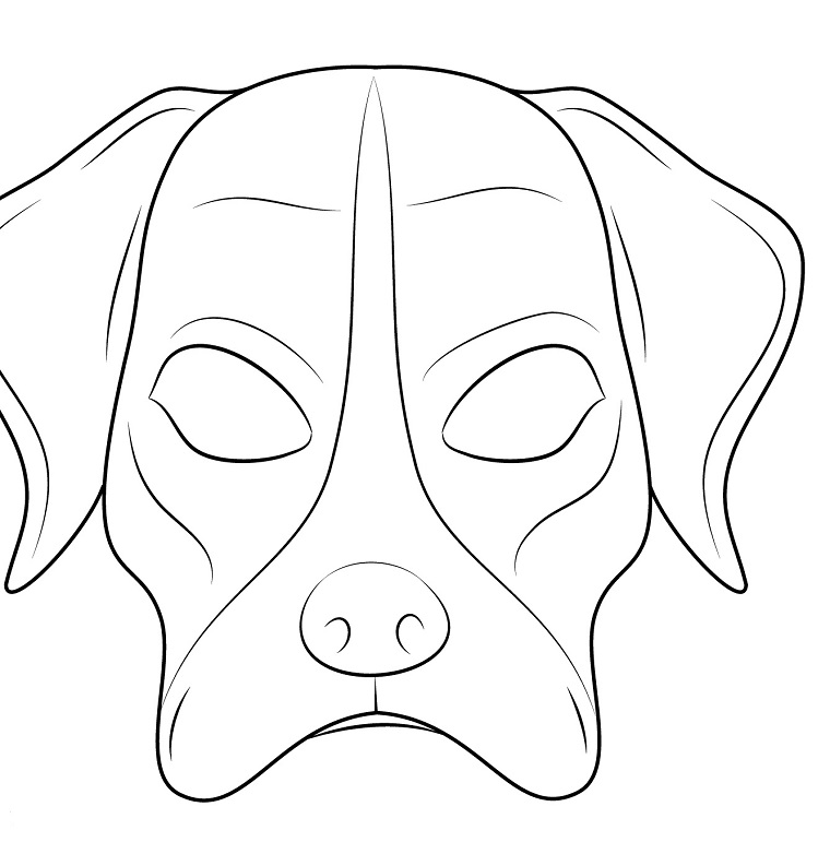 Disegno di un cane, disegni maschere di carnevale, maschera con occhi da ritagliare