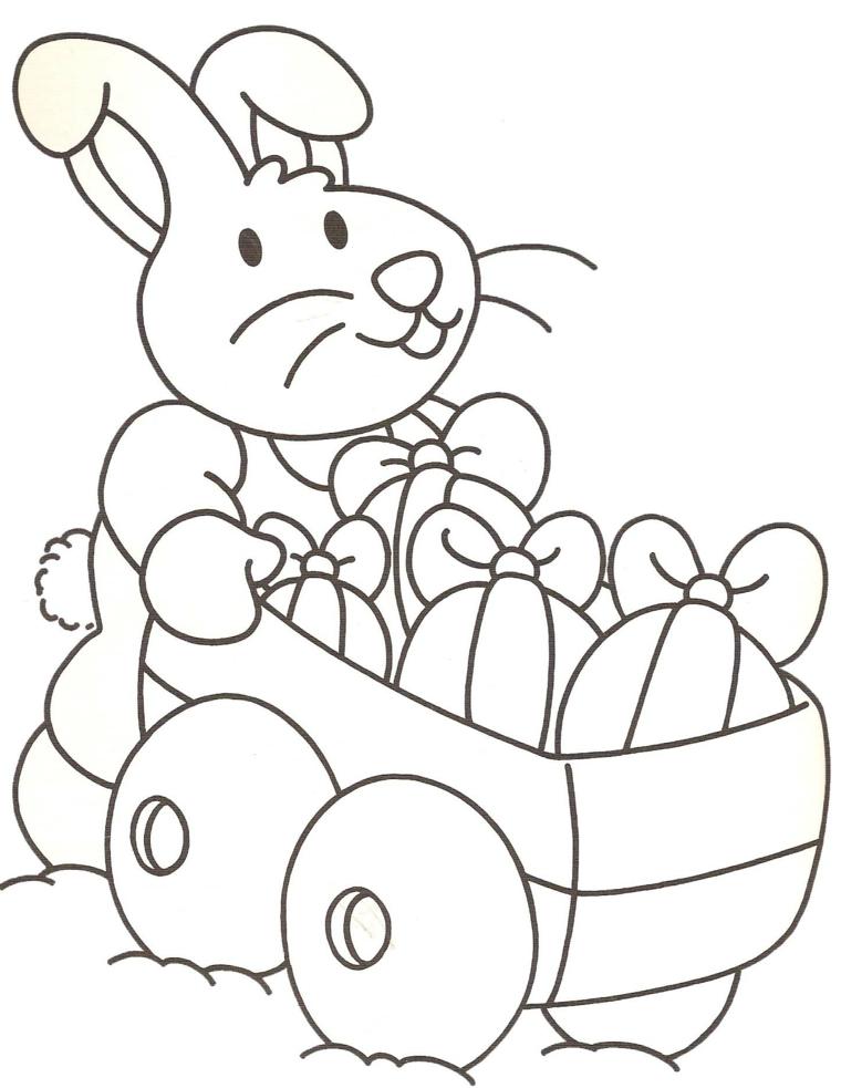 Disegni da colorare e stampare gratis, coniglio con carrello, carrello di legno con uova
