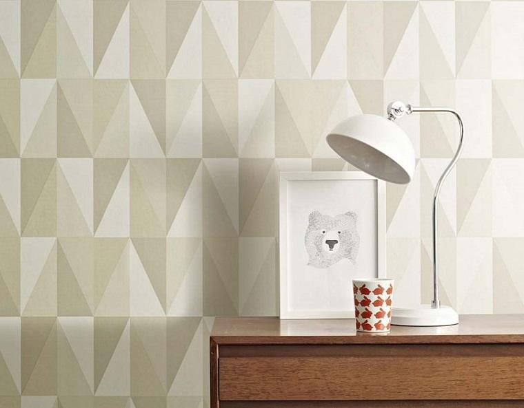 Carta da parati moderna, camera da letto, stile geometrico colore grigio