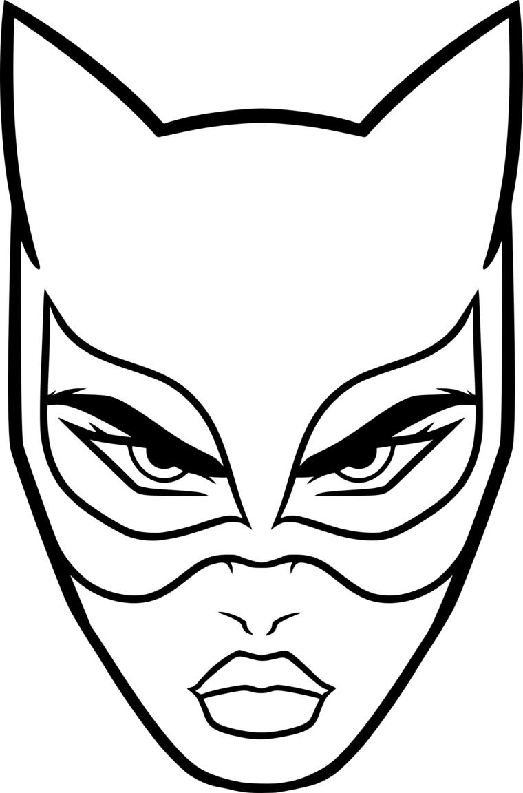 Maschere di carnevale da colorare, disegno viso di Catwoman