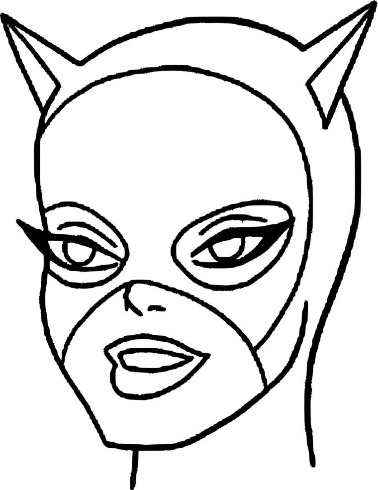 Maschere di carnevale da stampare e colorare, disegno del viso di Catwoman