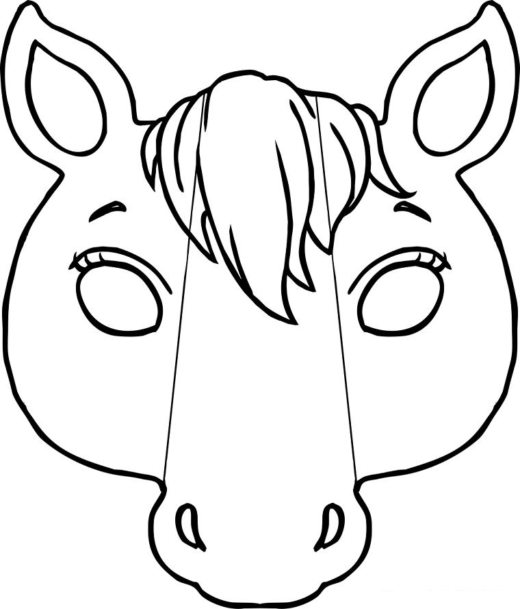 Maschere di carnevale da stampare e colorare, disegno di un cavallo