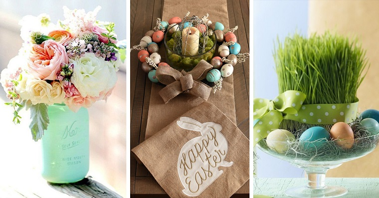 Centrotavola pasquali fai da te, vaso con fiori, ghirlanda con uova