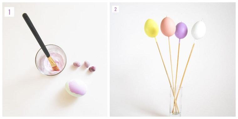 Tutorial decorazione uova, addobbi pasquali, pennello con vernice