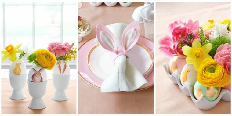 Lavoretti di Pasqua semplici, uovo sodo dipinto, segnaposto con orecchie di coniglio