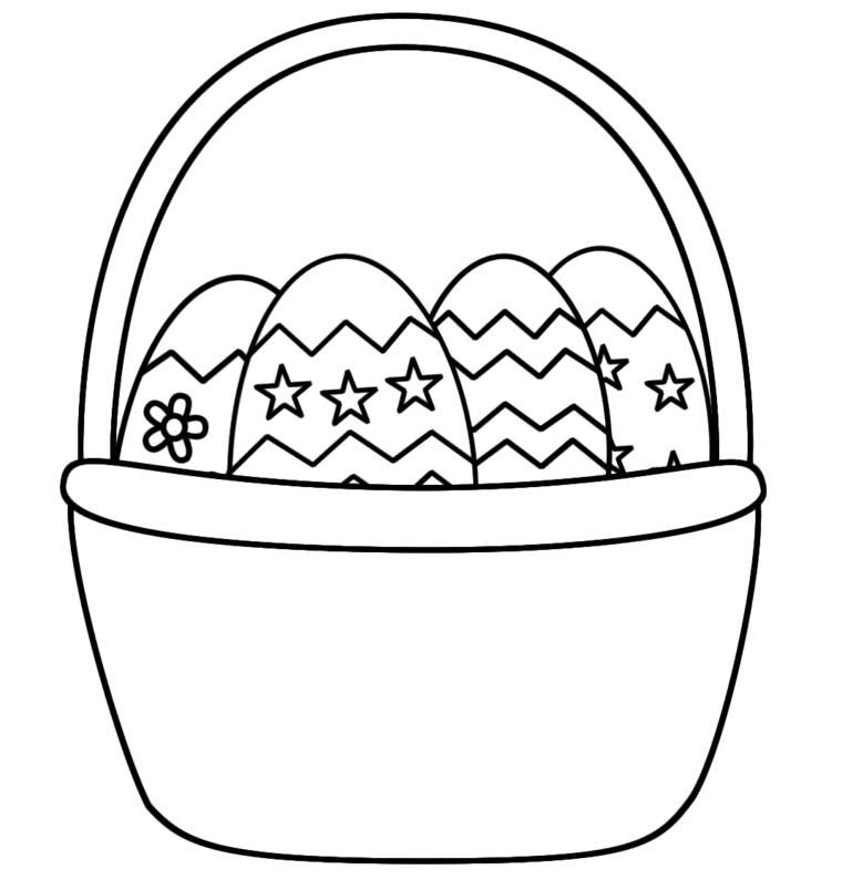 Cestino con uova, uova di Pasqua decorate, disegni di stelle