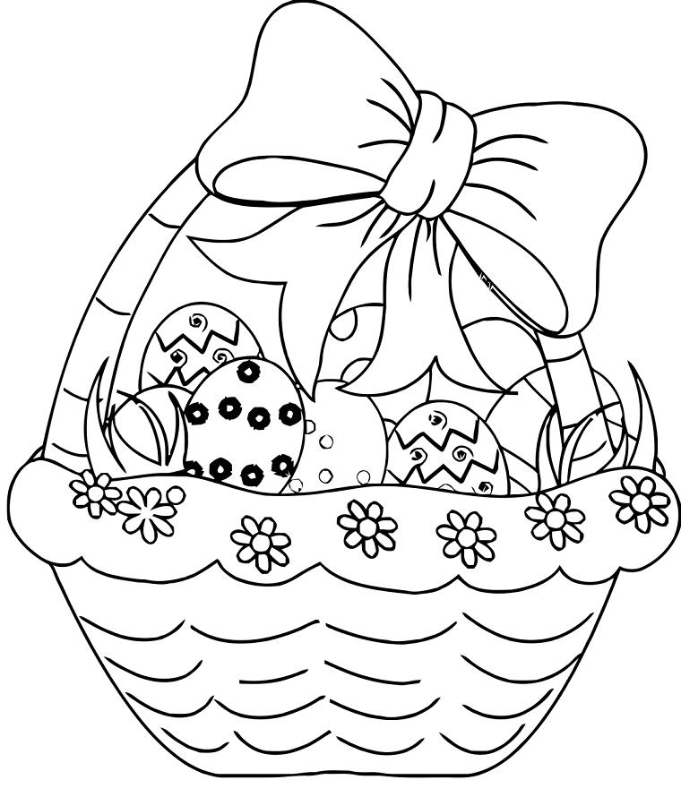 Uova pasquali da colorare, cestino con uova, immagini da colorare