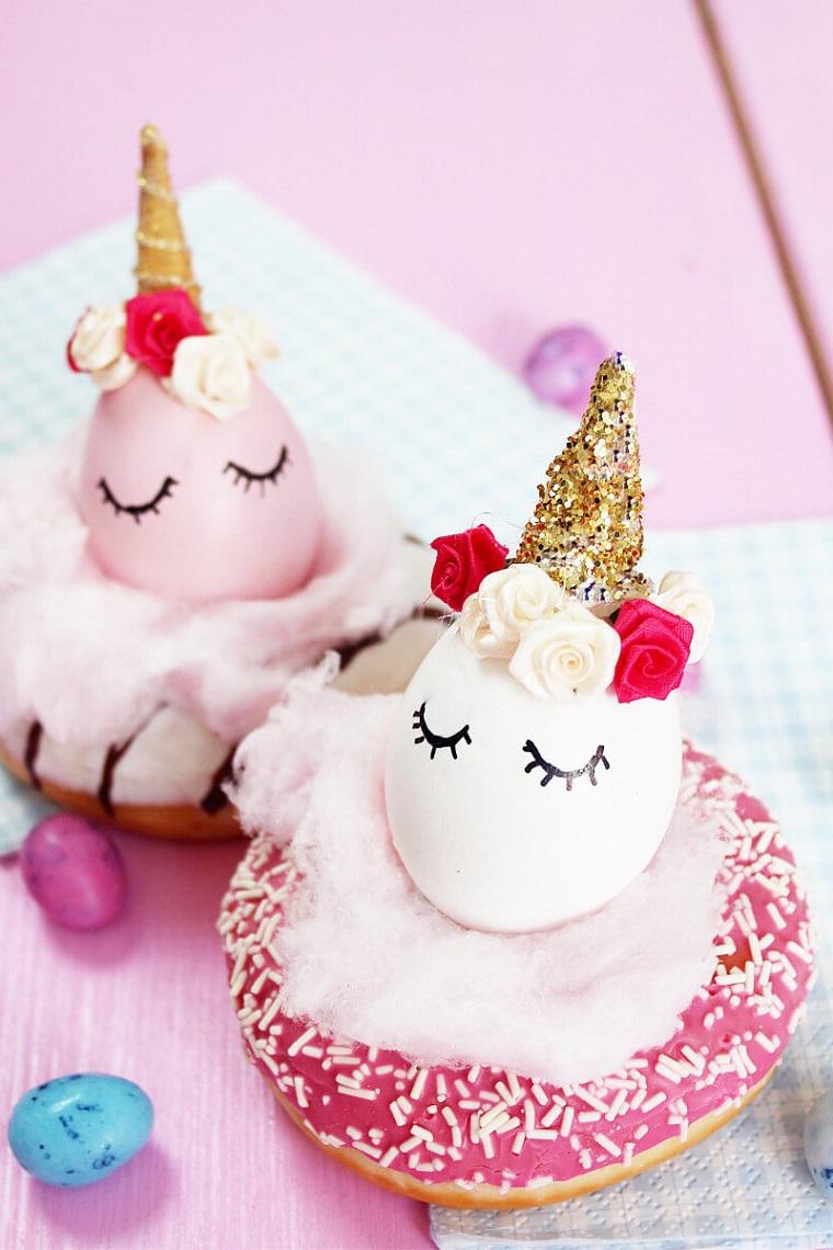 Segnaposto pasquali, uovo dipinto unicorno, ciambella rosa