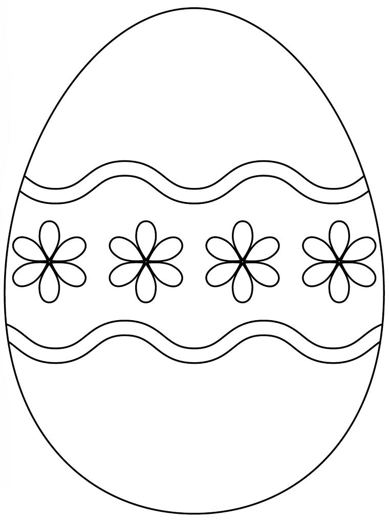 Disegni di Pasqua, uovo con fiori, immagini da colorare