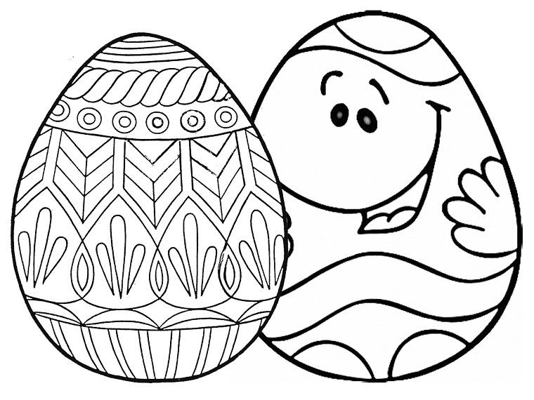 Uova di Pasqua da colorare, disegno di due uova, uovo con viso