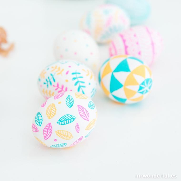 Uova sode dipinti, dipingere le uova, uova pasquali decorati