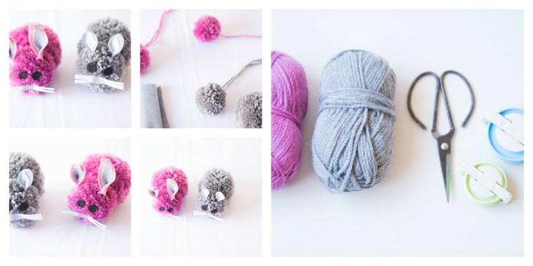 Addobbi pasquali fai da te, coniglietti di lana, rotoli di lana
