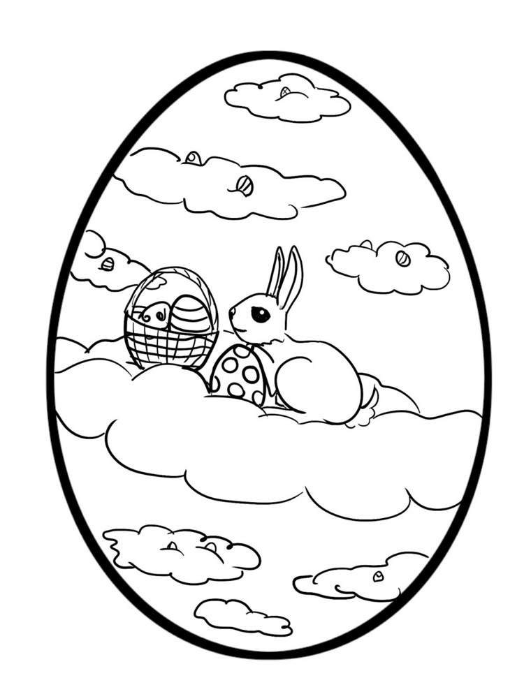Come decorare le uova di Pasqua, disegno coniglietto, cestino con uova