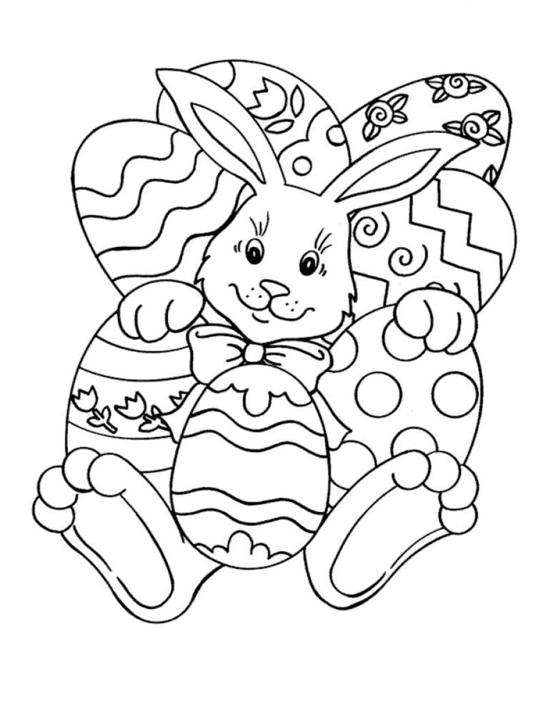 Lavoretti creativi Pasqua, coniglio con uova, uova da colorare