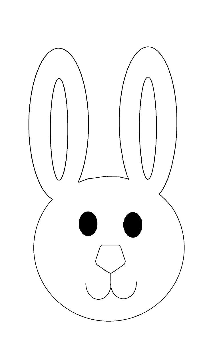 Maschere di carnevale per bambini, disegno di un coniglietto