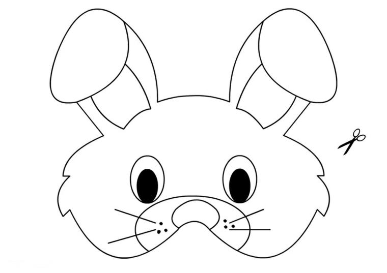 Disegni di carnevale, maschera da ritagliare, disegno di un coniglietto
