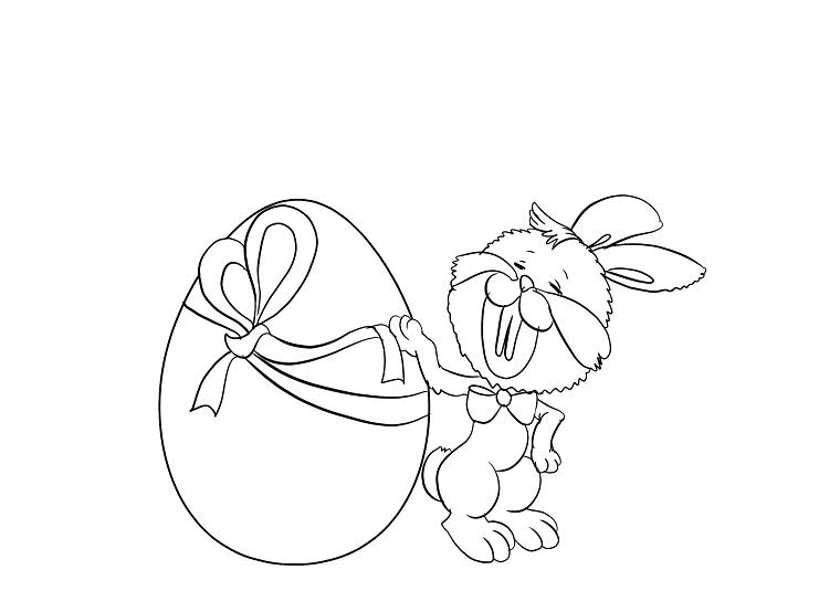 Decorare uova di Pasqua, coniglietto con uovo, immagine da colorare
