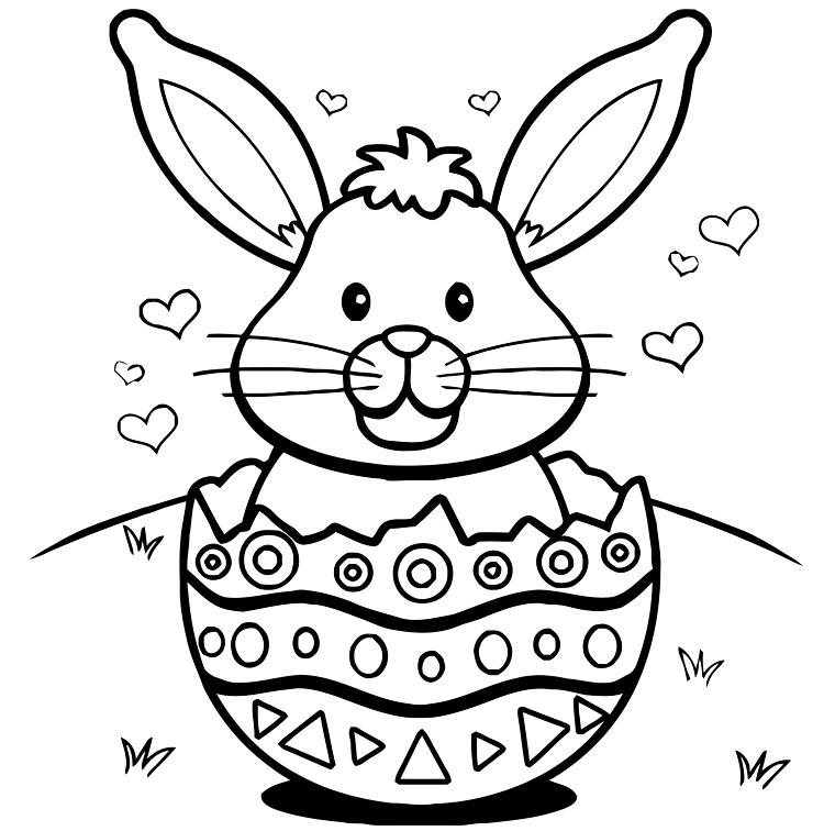 Coniglietto in uovo, disegni di Pasqua, ovetto da colorare