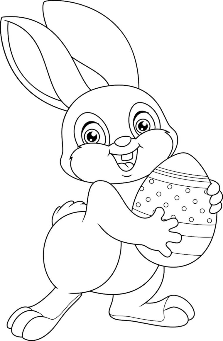 Coniglietto che abbraccia uovo, uovo con decorazioni, immagine da colorare