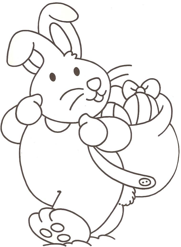 Come colorare le uova di Pasqua, coniglietto con sacco, uova da colorare