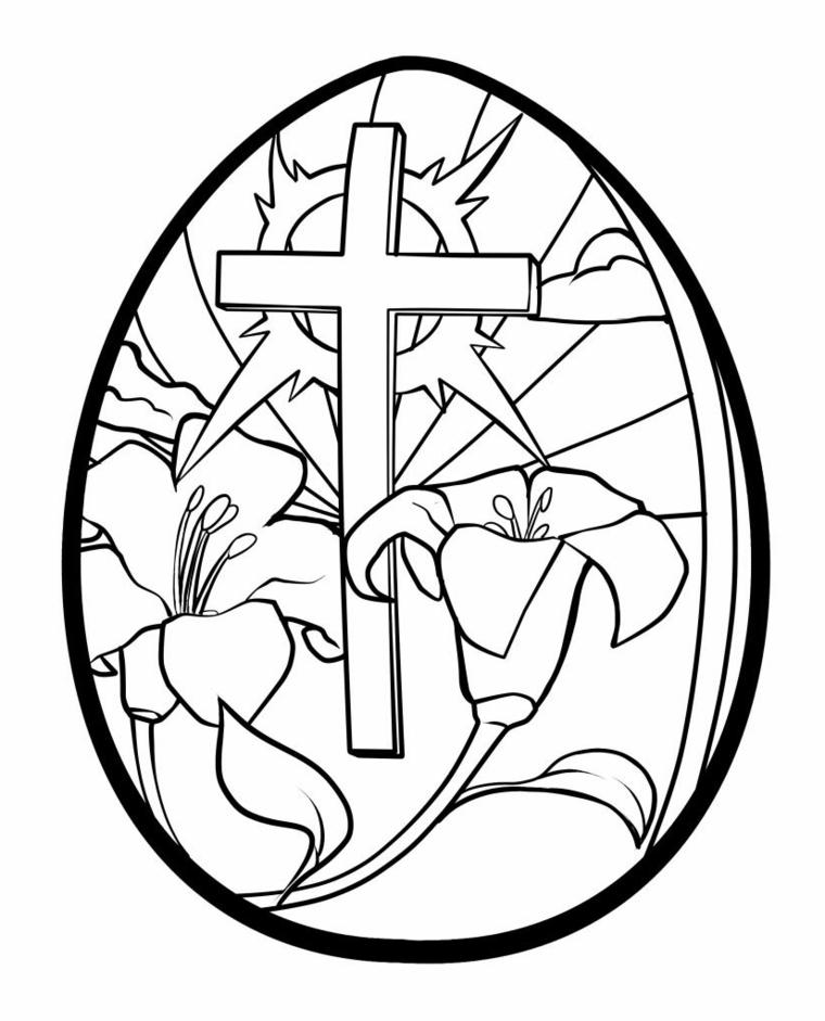 Lavoretti creativi Pasqua, disegno uovo con croce, fiori da colorare