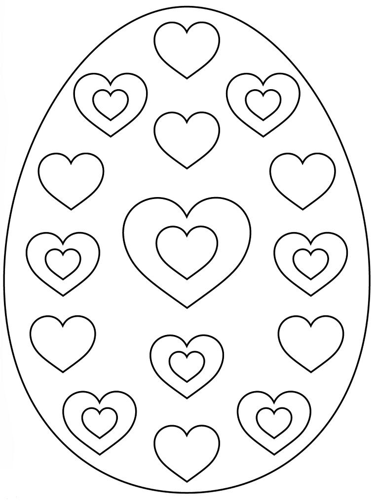 Uovo con cuori, immagini da disegnare, uova di pasqua da colorare