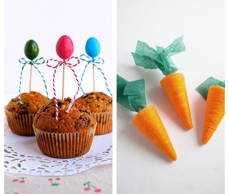 Lavoretti di pasqua semplici, muffin con topper, carote di carta crespa