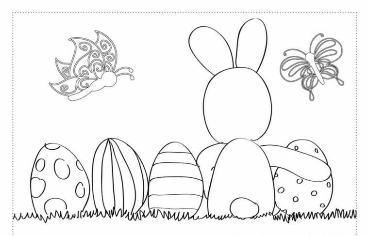 Cartolina pasquale, cartolina da colorare, Uova di Pasqua decorate
