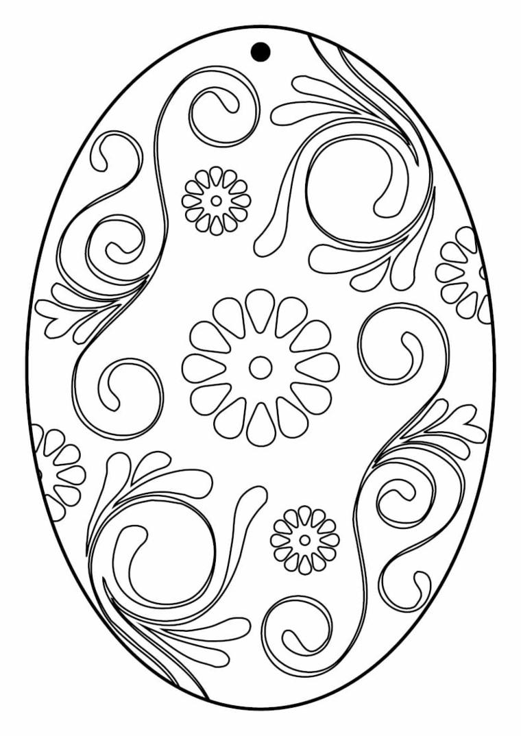 Disegni di Pasqua, uovo con decorazioni, motivi floreali da colorare