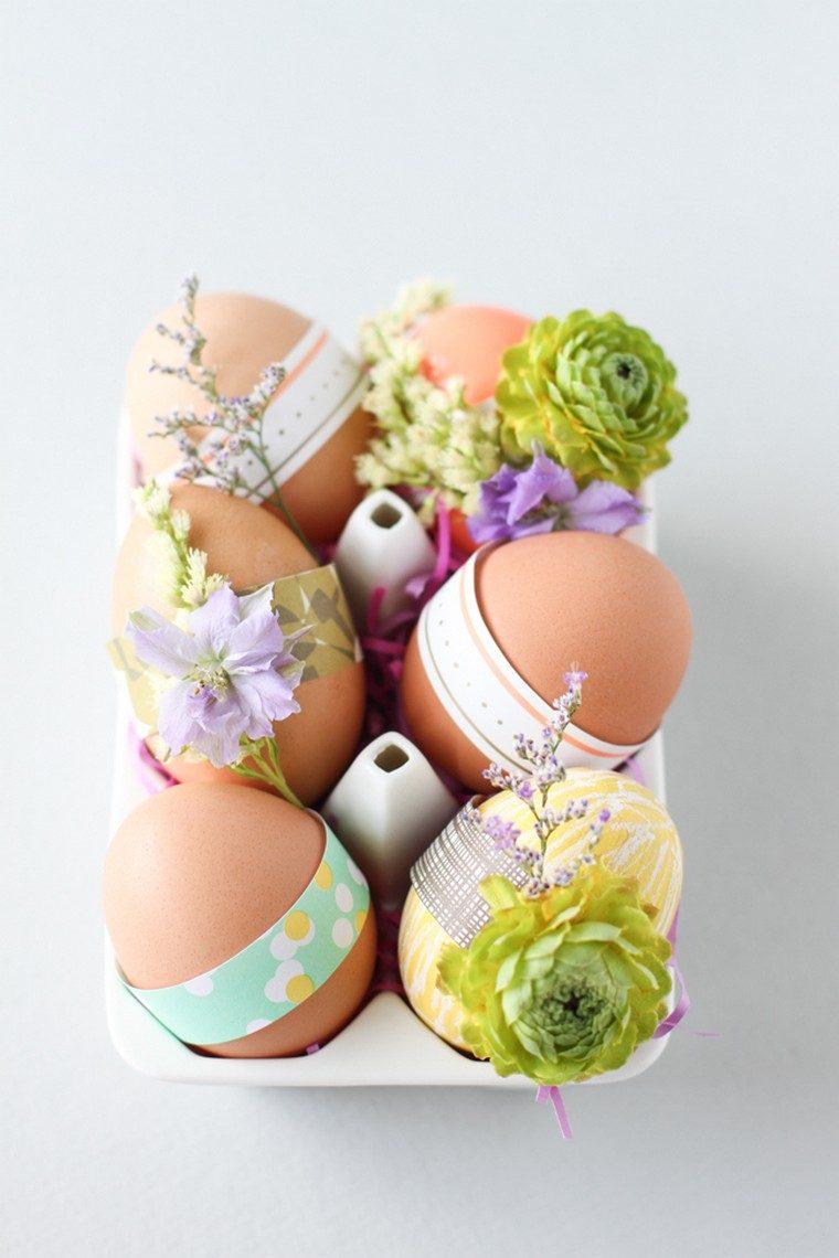 Decorazioni pasquali da appendere, uova decorate, uova con fiori