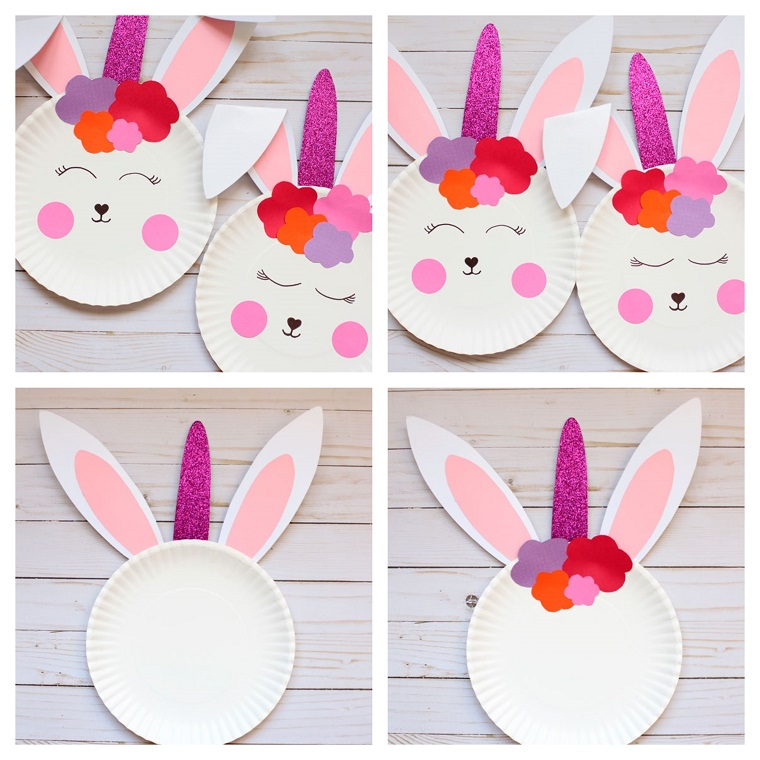 Addobbi pasquali, tutorial per creare un coniglietto, piatto di carta bianco
