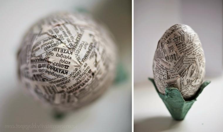 Lavoretti di pasqua fai da te, uovo decorato con decoupage