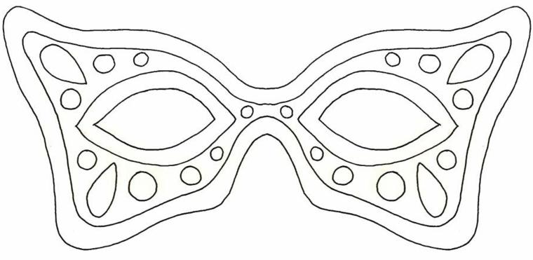 Maschere di carnevale da colorare, disegno di una maschera per bambini